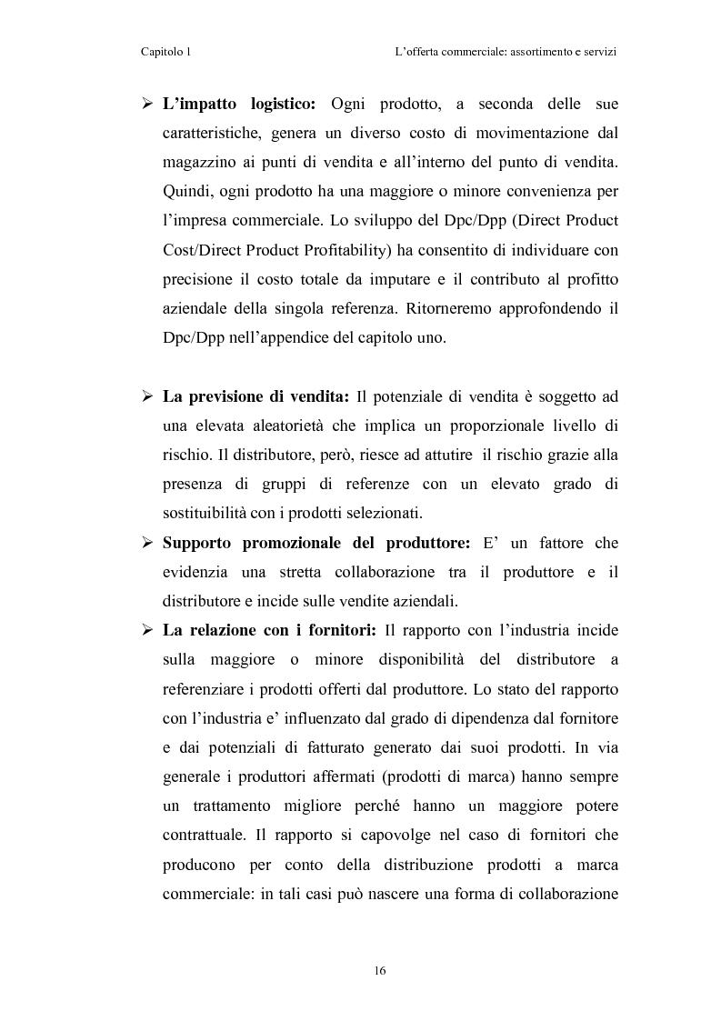 Anteprima della tesi: Le risorse assortimento-spazio-servizi nell'economia delle aziende di distribuzione commerciale, Pagina 13