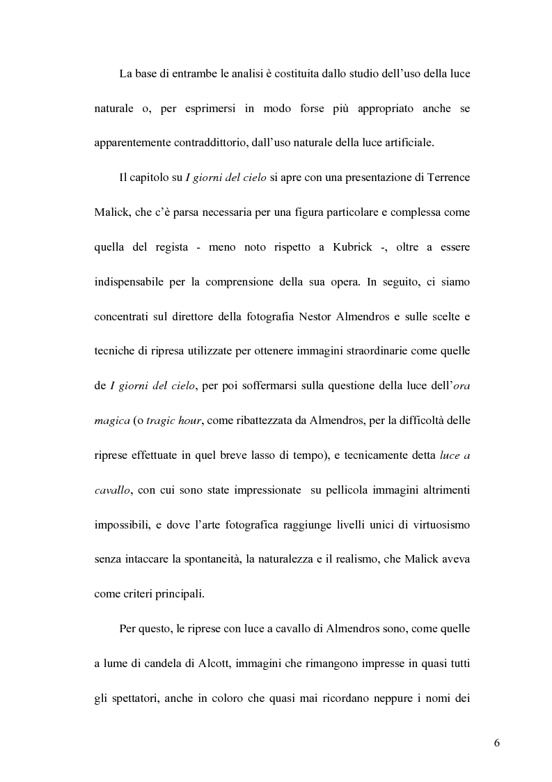 Anteprima della tesi: La Luce naturale al Cinema. Barry Lyndon e I Giorni del Cielo, Pagina 4