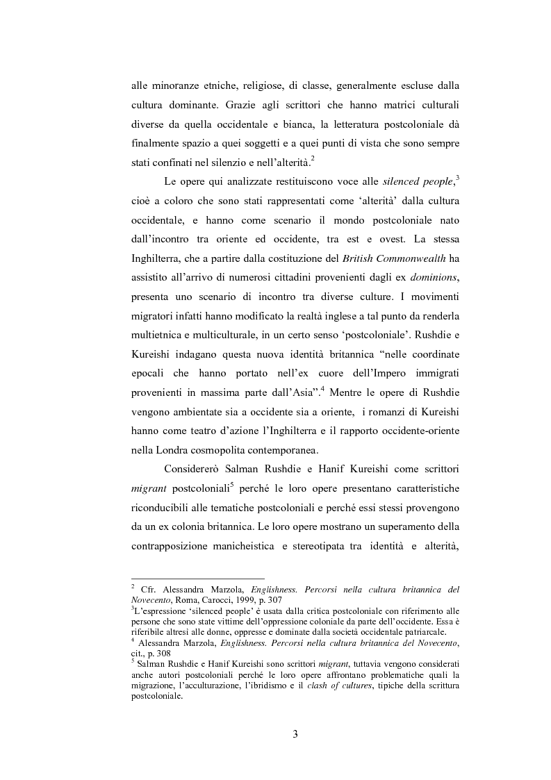 Anteprima della tesi: Elementi postcoloniali e postmoderni nell'opera di Salman Rushdie e Hanif Kureishi, Pagina 2