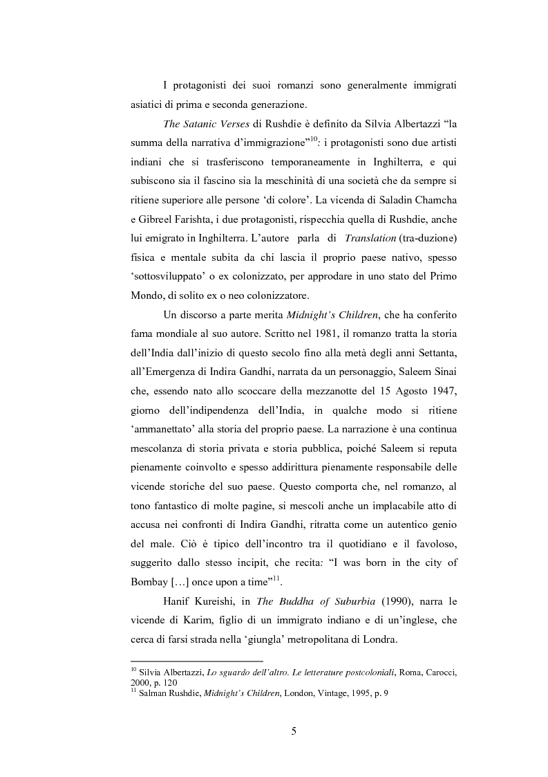 Anteprima della tesi: Elementi postcoloniali e postmoderni nell'opera di Salman Rushdie e Hanif Kureishi, Pagina 4