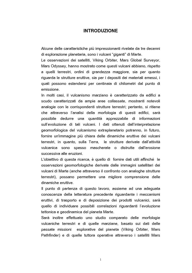 Anteprima della tesi: Confronto tra il vulcanismo del pianeta Marte e il vulcanismo terrestre con particolare riferimento alla Provincia Comagmatica Romana, Pagina 1