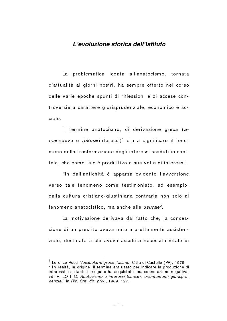 Anteprima della tesi: L'anatocismo, Pagina 1