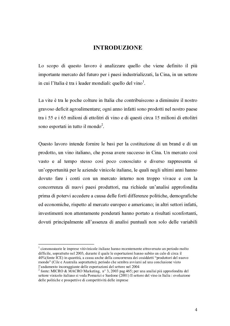 Anteprima della tesi: Introduzione di una nuova marca in un mercato: il caso del vino italiano in Cina, Pagina 1