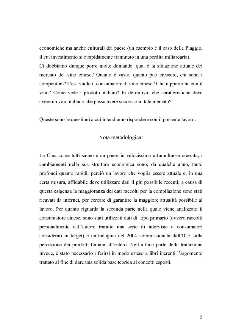 Anteprima della tesi: Introduzione di una nuova marca in un mercato: il caso del vino italiano in Cina, Pagina 2