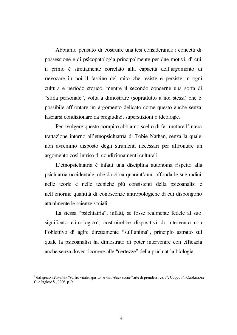 Anteprima della tesi: Possessioni e psicopatologie: una indagine etnopsichiatrica, Pagina 1