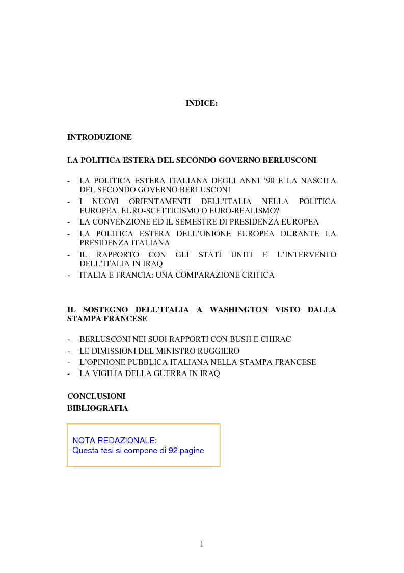 Indice della tesi: La Politica estera del secondo governo Berlusconi ed il suo sostegno a Washington. Il punto di vista della stampa francese, Pagina 1