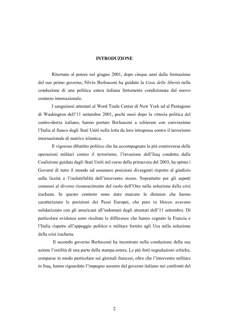 Anteprima della tesi: La Politica estera del secondo governo Berlusconi ed il suo sostegno a Washington. Il punto di vista della stampa francese, Pagina 1