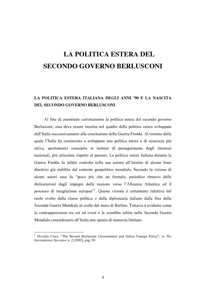 Anteprima della tesi: La Politica estera del secondo governo Berlusconi ed il suo sostegno a Washington. Il punto di vista della stampa francese, Pagina 3
