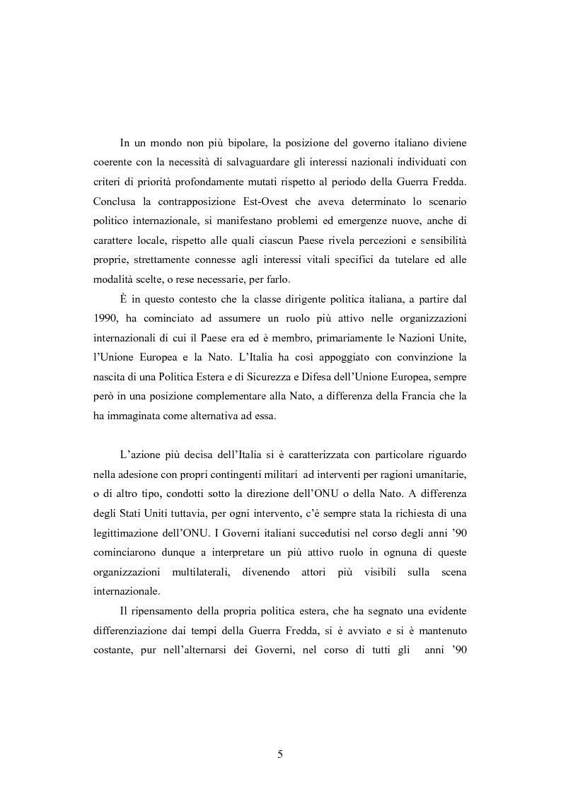 Anteprima della tesi: La Politica estera del secondo governo Berlusconi ed il suo sostegno a Washington. Il punto di vista della stampa francese, Pagina 4