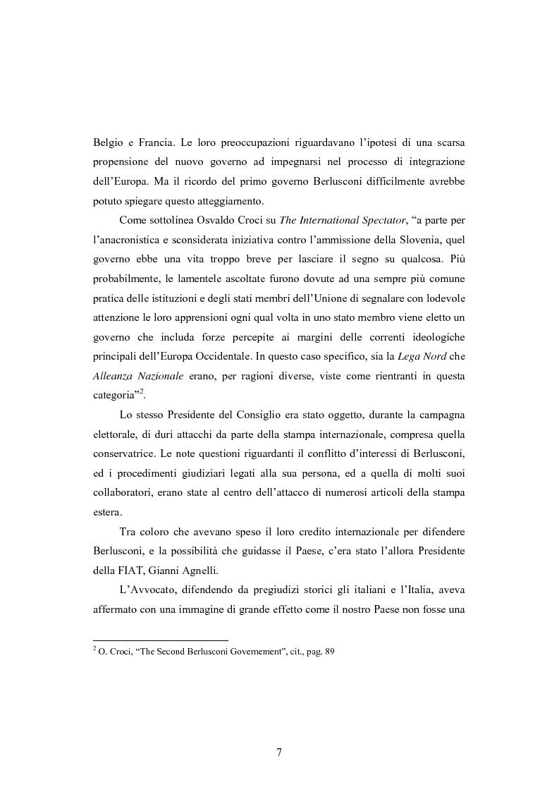 Anteprima della tesi: La Politica estera del secondo governo Berlusconi ed il suo sostegno a Washington. Il punto di vista della stampa francese, Pagina 6