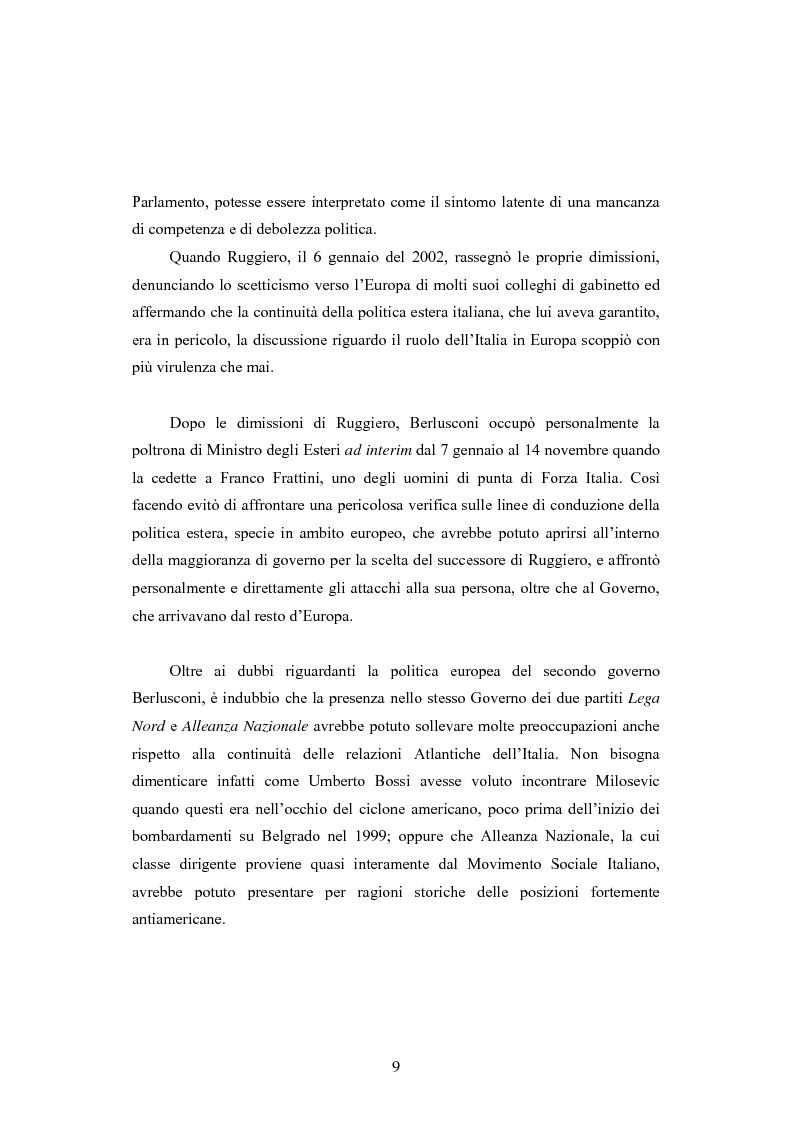 Anteprima della tesi: La Politica estera del secondo governo Berlusconi ed il suo sostegno a Washington. Il punto di vista della stampa francese, Pagina 8