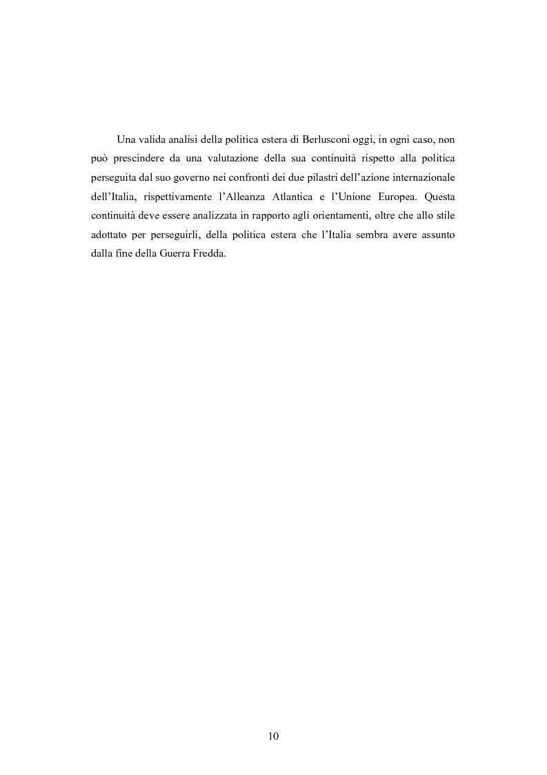 Anteprima della tesi: La Politica estera del secondo governo Berlusconi ed il suo sostegno a Washington. Il punto di vista della stampa francese, Pagina 9