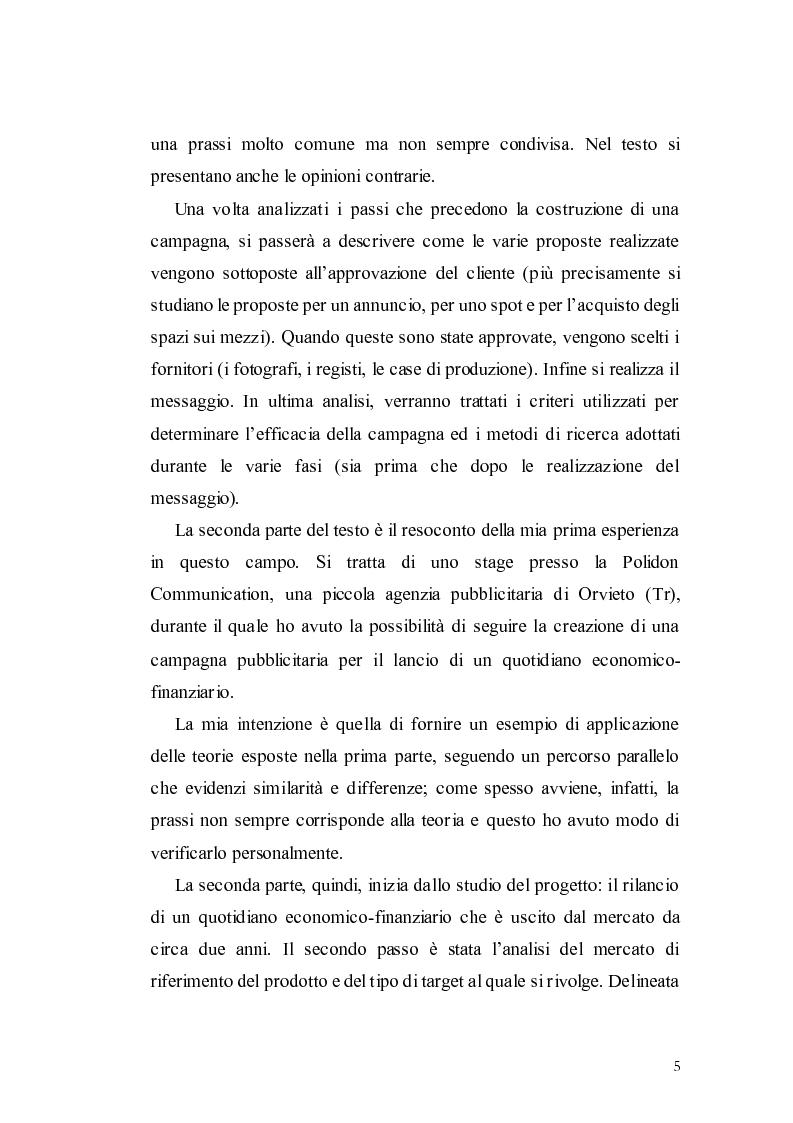 Anteprima della tesi: Elaborazione di una campagna pubblicitaria per il lancio di un quotidiano economico, Pagina 2