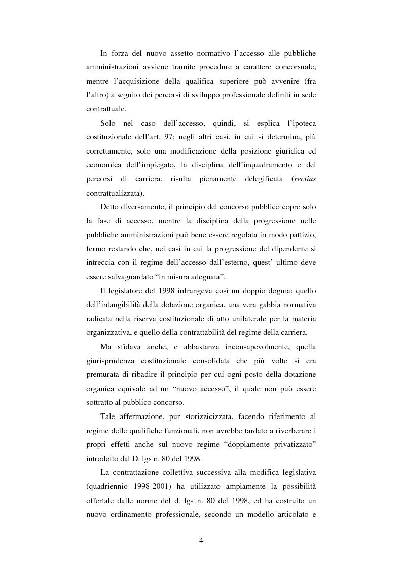 Anteprima della tesi: Le progressioni di carriera nel lavoro pubblico privatizzato, Pagina 2