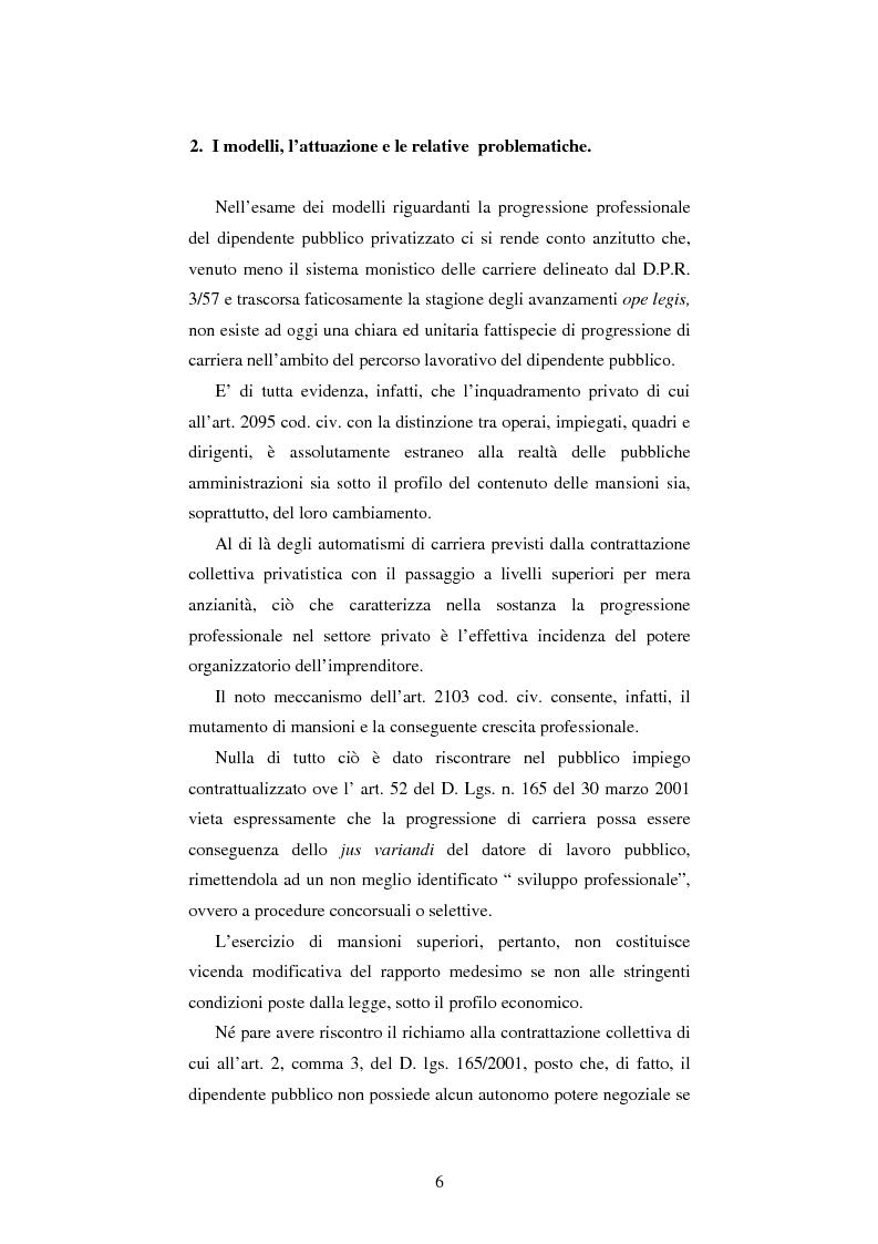Anteprima della tesi: Le progressioni di carriera nel lavoro pubblico privatizzato, Pagina 4