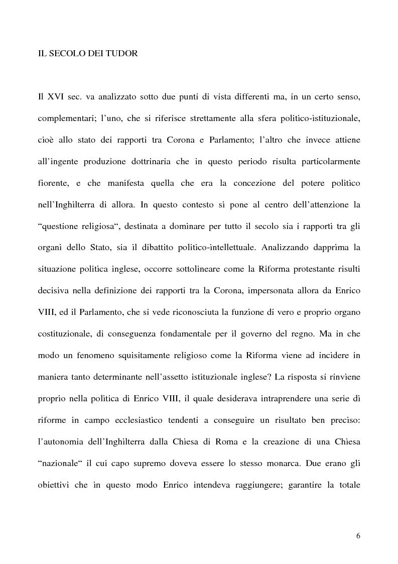 Anteprima della tesi: I Poteri della Corona e del Parlamento nel pensiero politico inglese del XVII secolo, Pagina 6