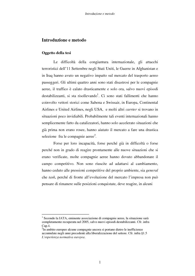 Anteprima della tesi: Strategie e performance delle compagnie aeree low cost. I casi Ryanair, Easyjet e Virgin Express., Pagina 1