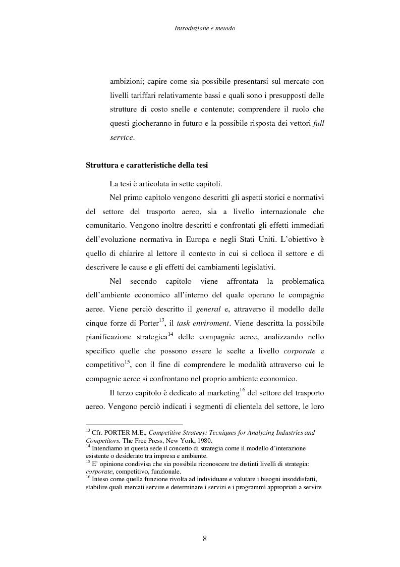 Anteprima della tesi: Strategie e performance delle compagnie aeree low cost. I casi Ryanair, Easyjet e Virgin Express., Pagina 8