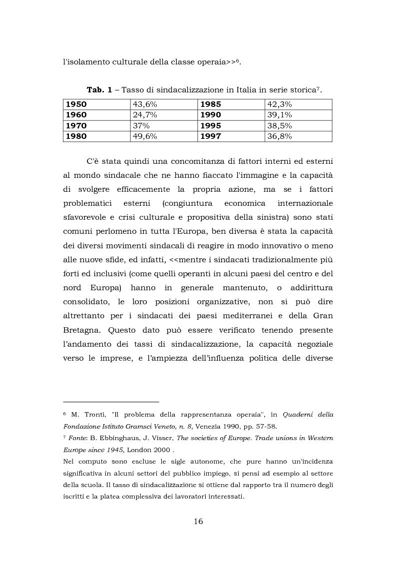 Anteprima della tesi: Comunicazione e rappresentanza nel sindacato. I rapporti con il lavoro, la società, i media. L'esperienza di Nidil - Cgil., Pagina 12