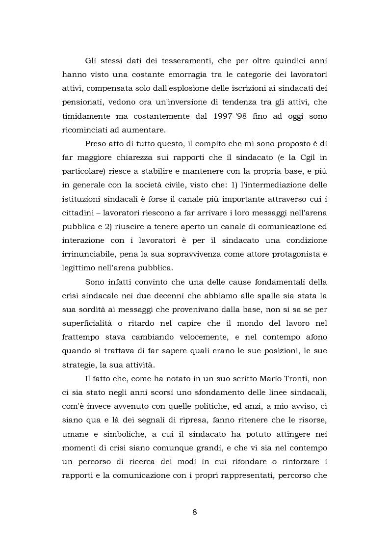 Anteprima della tesi: Comunicazione e rappresentanza nel sindacato. I rapporti con il lavoro, la società, i media. L'esperienza di Nidil - Cgil., Pagina 4