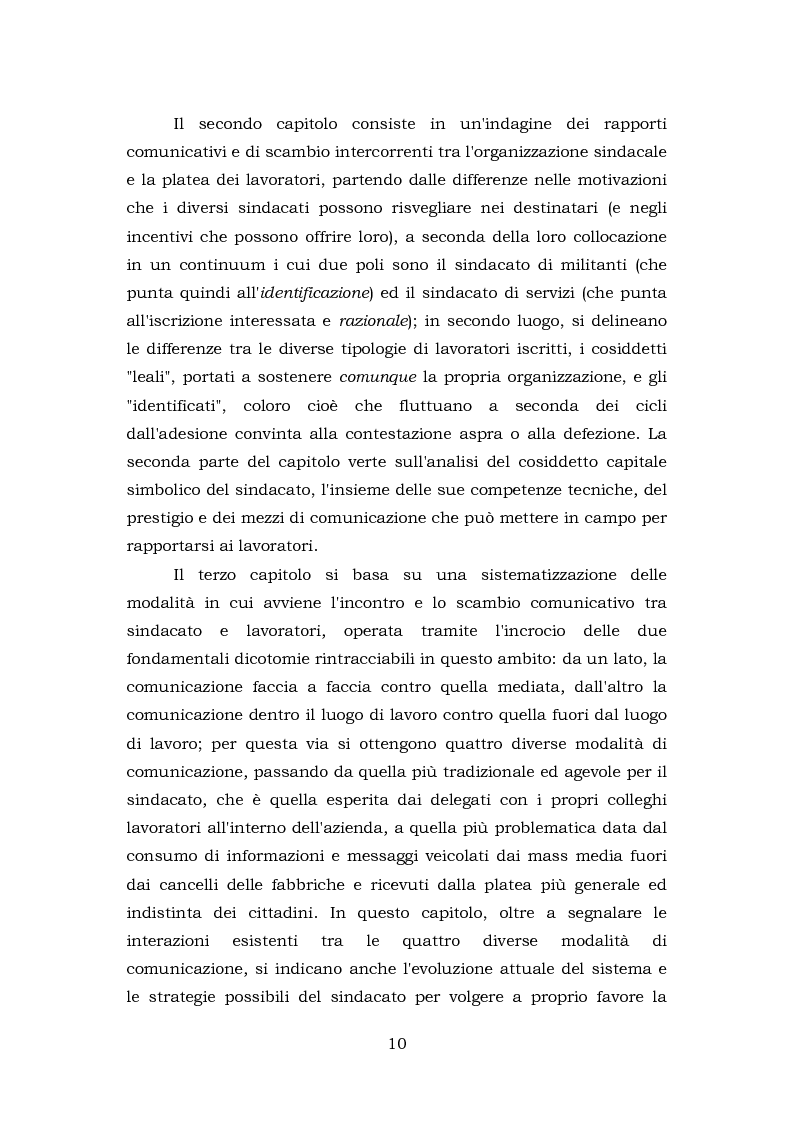 Anteprima della tesi: Comunicazione e rappresentanza nel sindacato. I rapporti con il lavoro, la società, i media. L'esperienza di Nidil - Cgil., Pagina 6