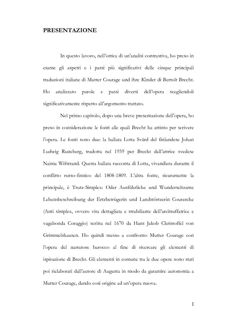 Anteprima della tesi: Alcuni aspetti delle traduzioni italiane di Mutter Courage und ihre Kinder di Bertolt Brecht, Pagina 1