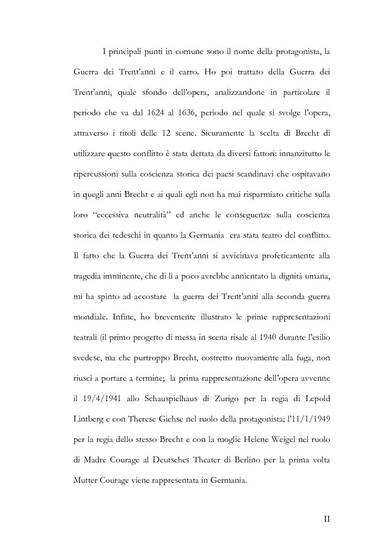Anteprima della tesi: Alcuni aspetti delle traduzioni italiane di Mutter Courage und ihre Kinder di Bertolt Brecht, Pagina 2