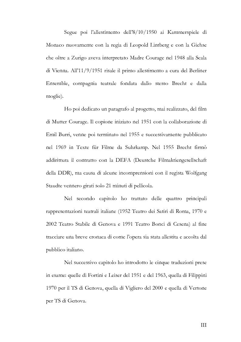 Anteprima della tesi: Alcuni aspetti delle traduzioni italiane di Mutter Courage und ihre Kinder di Bertolt Brecht, Pagina 3