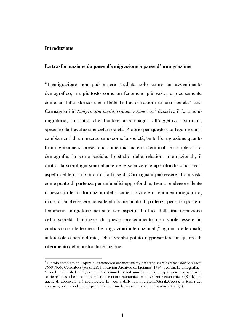 Anteprima della tesi: Osservazioni sul fenomeno dell'immigrazione in Spagna, con riferimento al periodo 1992-2002, Pagina 1