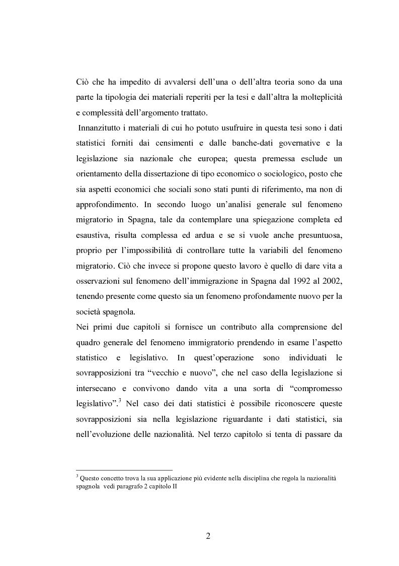 Anteprima della tesi: Osservazioni sul fenomeno dell'immigrazione in Spagna, con riferimento al periodo 1992-2002, Pagina 2