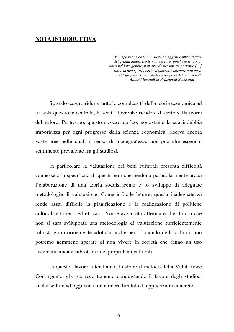 Anteprima della tesi: La Valutazione Economica dei Beni Culturali, Pagina 1
