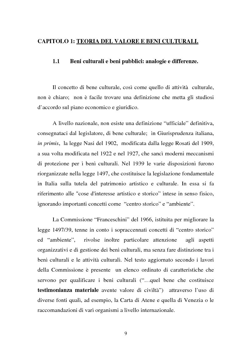 Anteprima della tesi: La Valutazione Economica dei Beni Culturali, Pagina 4