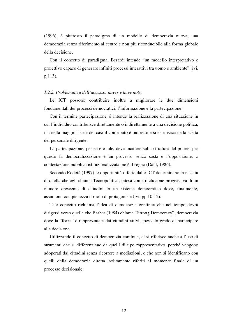 Anteprima della tesi: Democrazia e nuove tecnologie: rischi di esclusione e opportunità di partecipazione, Pagina 12