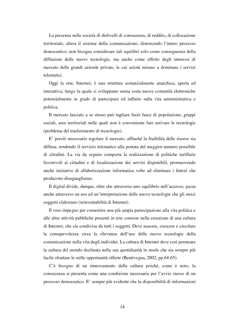 Anteprima della tesi: Democrazia e nuove tecnologie: rischi di esclusione e opportunità di partecipazione, Pagina 14