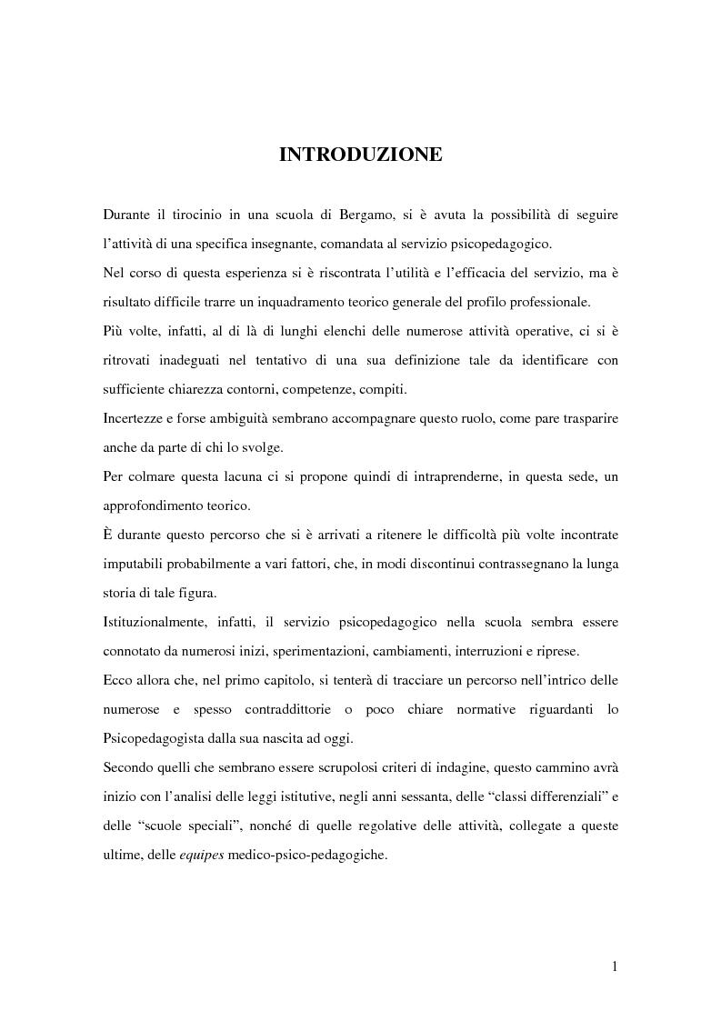 Anteprima della tesi: Quale Operatore psicopedagogico? Dallo Psicopedagogista al Formatore scolastico, Pagina 1
