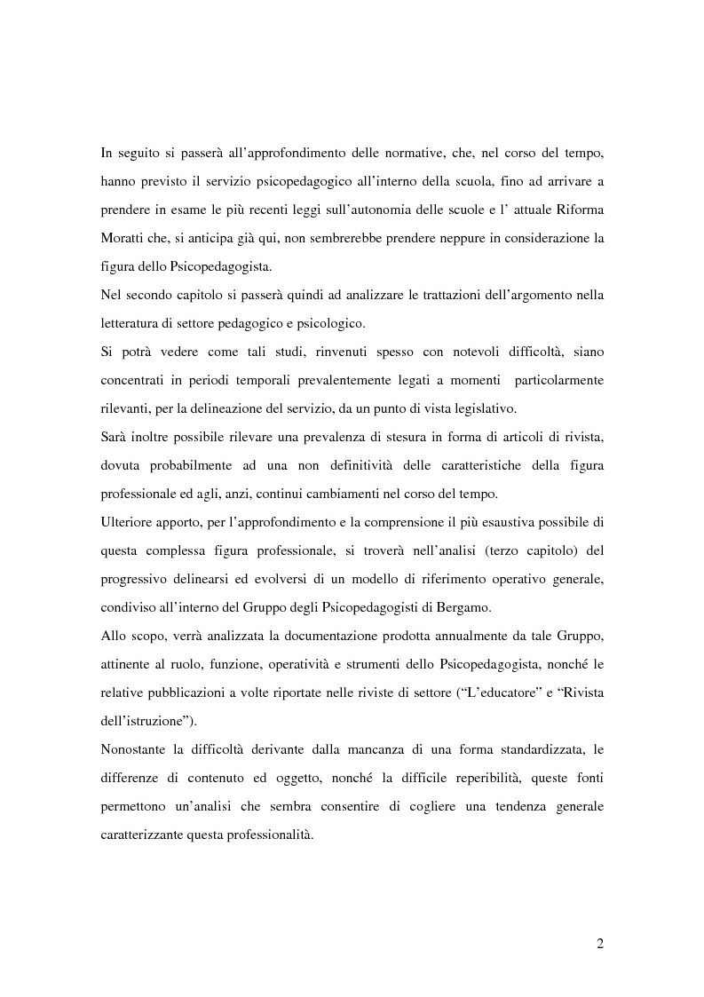 Anteprima della tesi: Quale Operatore psicopedagogico? Dallo Psicopedagogista al Formatore scolastico, Pagina 2