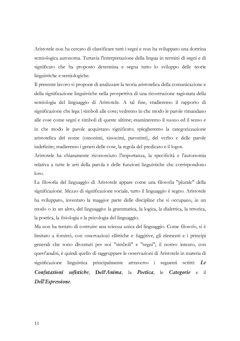 Anteprima della tesi: La teoria della significazione linguistica nel pensiero di Aristotele, Pagina 8