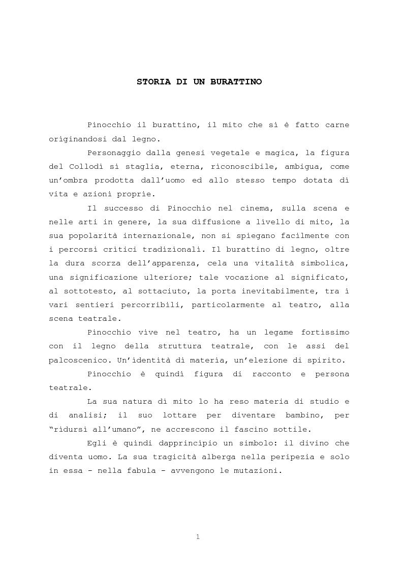 Anteprima della tesi: Pinocchio come personaggio Drammatico, Pagina 1