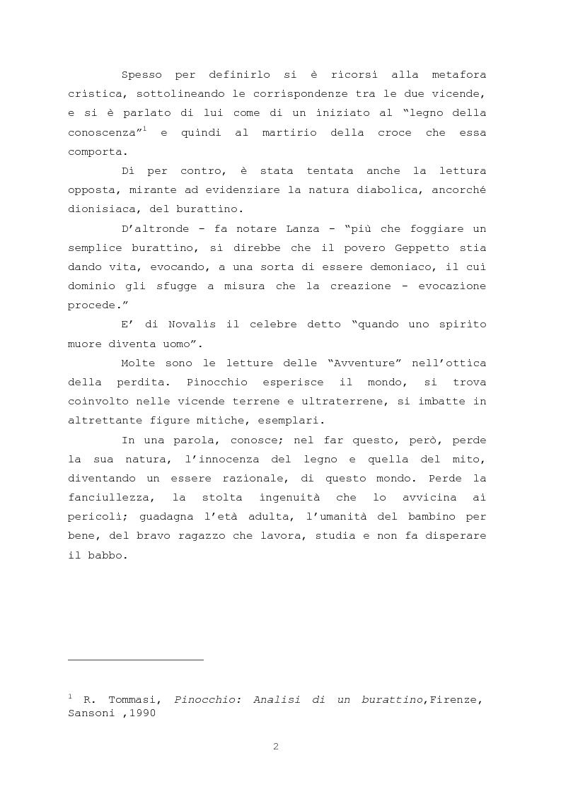 Anteprima della tesi: Pinocchio come personaggio Drammatico, Pagina 2