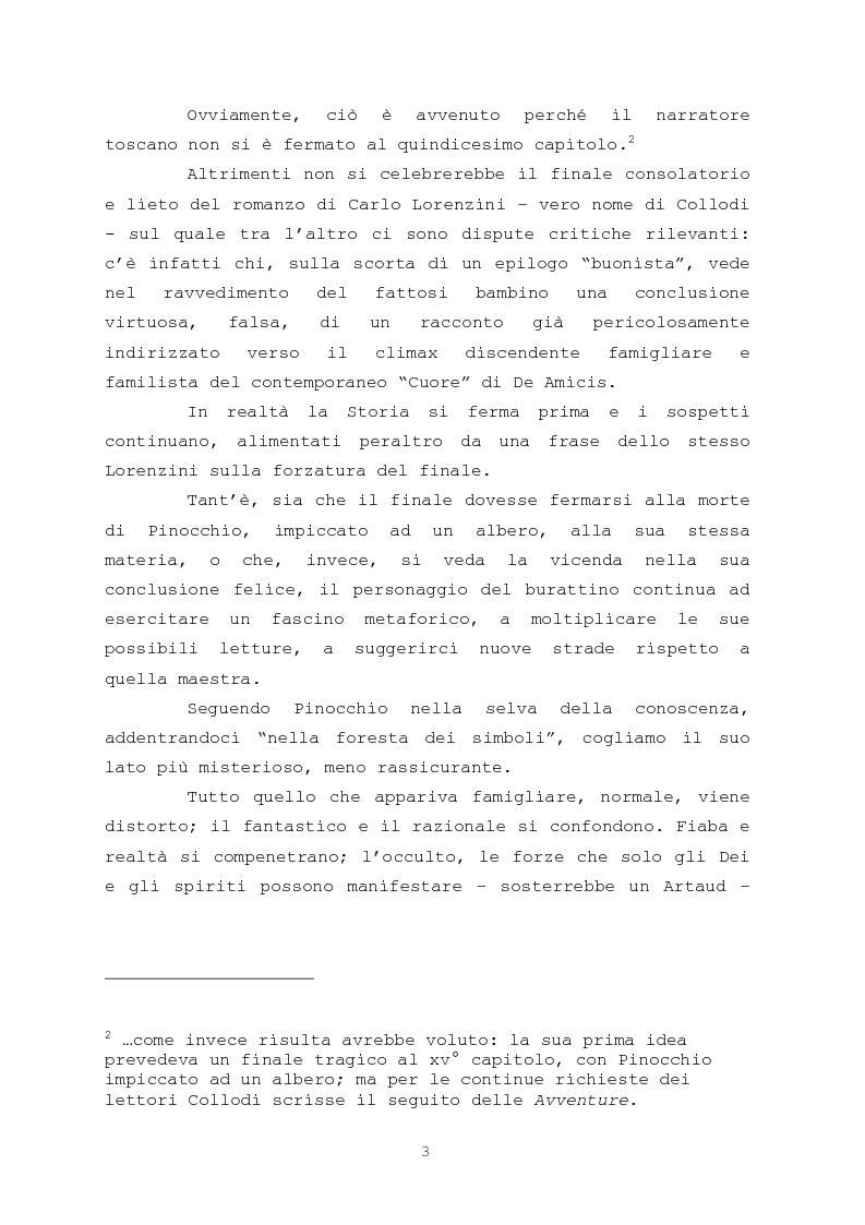 Anteprima della tesi: Pinocchio come personaggio Drammatico, Pagina 3