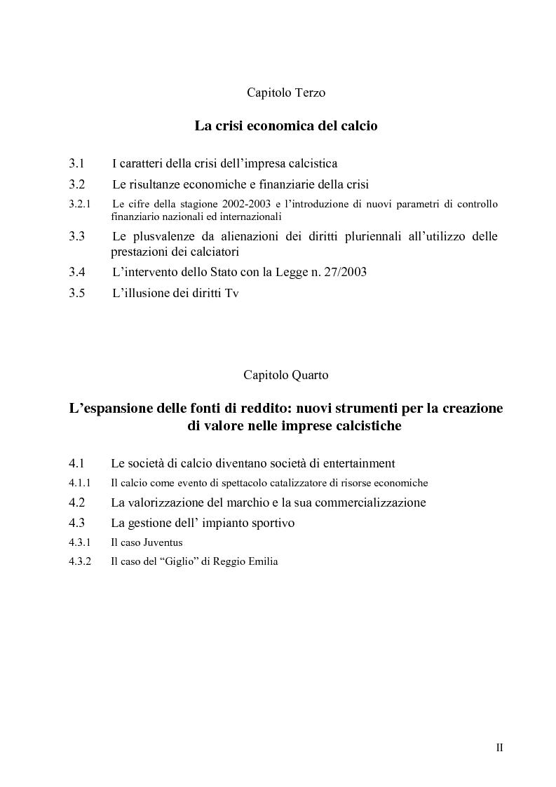 Indice della tesi: La crisi economica e finanziaria delle società di calcio professionistiche:analisi ed ipotesi di soluzione, Pagina 2
