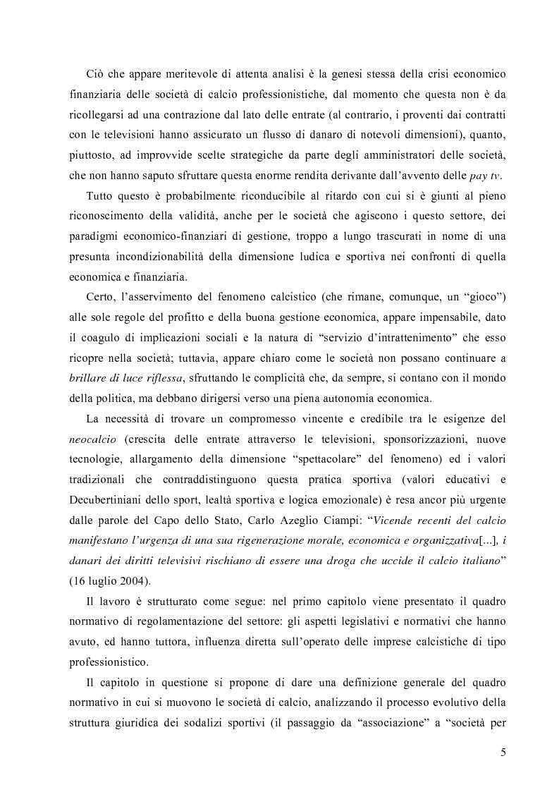 Anteprima della tesi: La crisi economica e finanziaria delle società di calcio professionistiche:analisi ed ipotesi di soluzione, Pagina 2