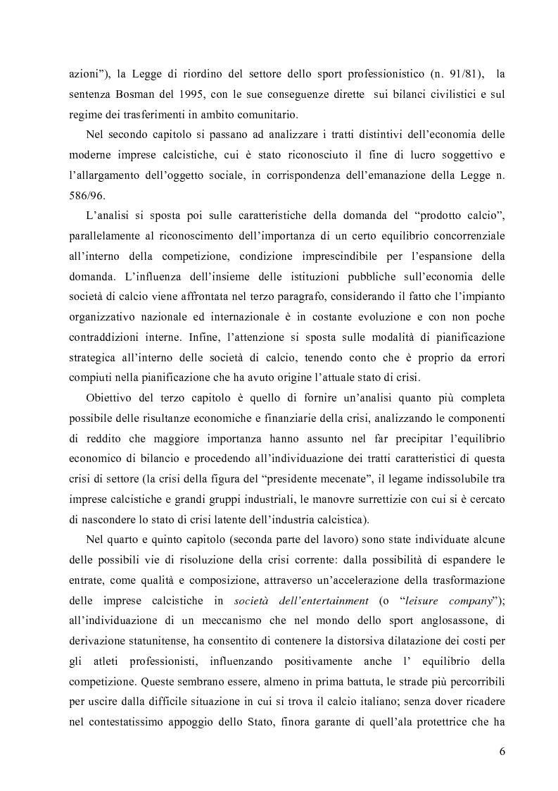 Anteprima della tesi: La crisi economica e finanziaria delle società di calcio professionistiche:analisi ed ipotesi di soluzione, Pagina 3