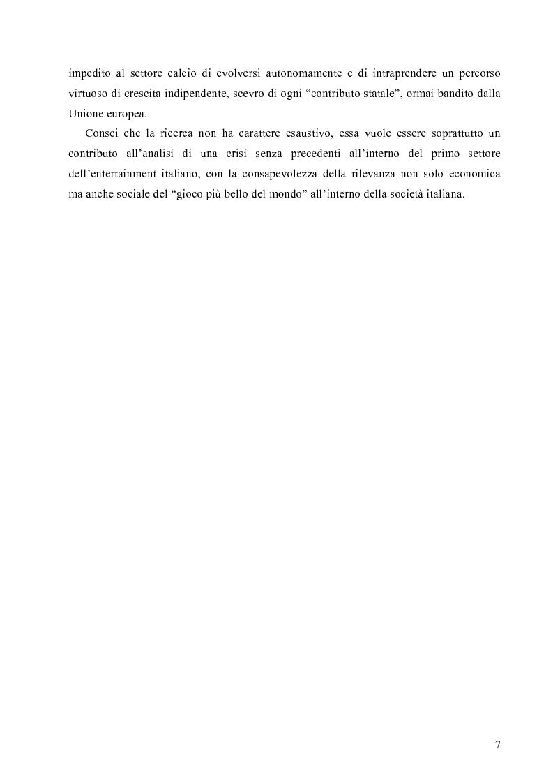 Anteprima della tesi: La crisi economica e finanziaria delle società di calcio professionistiche:analisi ed ipotesi di soluzione, Pagina 4