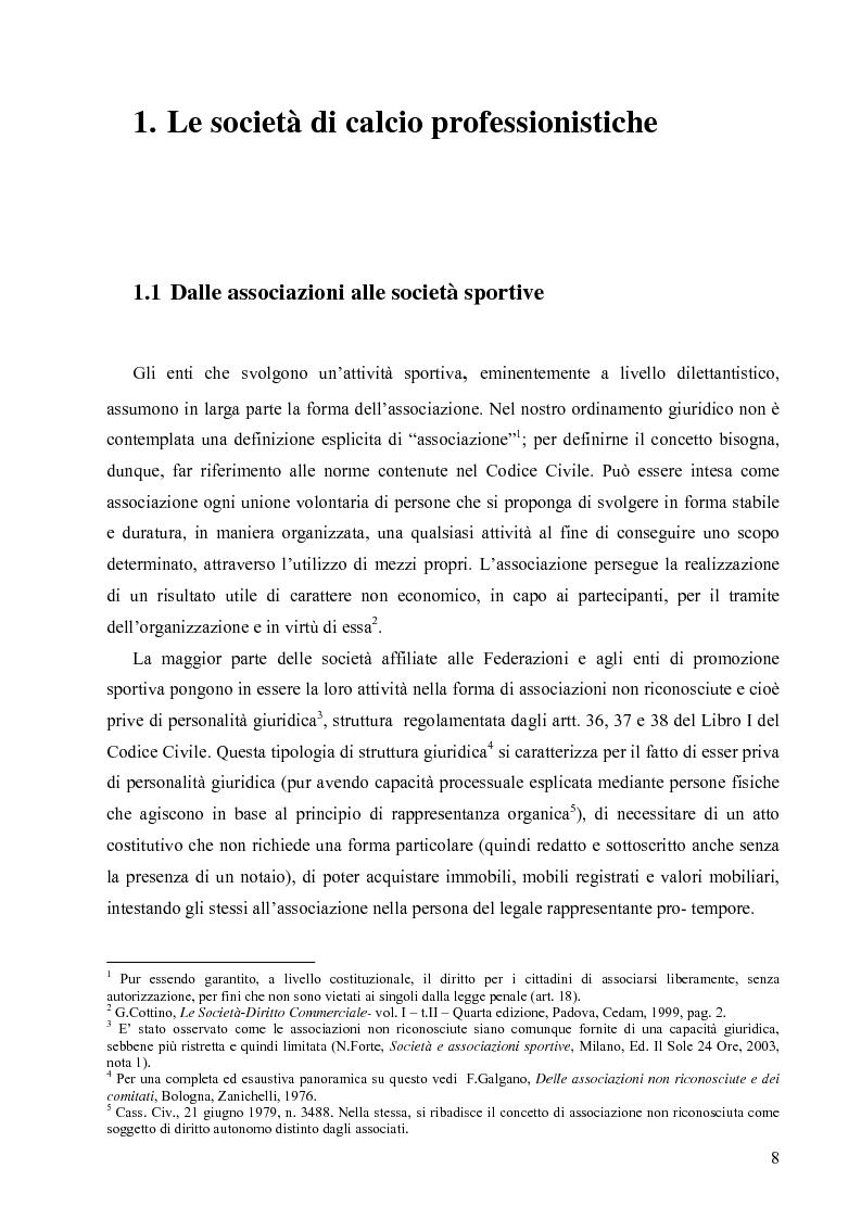 Anteprima della tesi: La crisi economica e finanziaria delle società di calcio professionistiche:analisi ed ipotesi di soluzione, Pagina 5