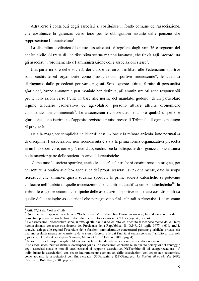 Anteprima della tesi: La crisi economica e finanziaria delle società di calcio professionistiche:analisi ed ipotesi di soluzione, Pagina 6