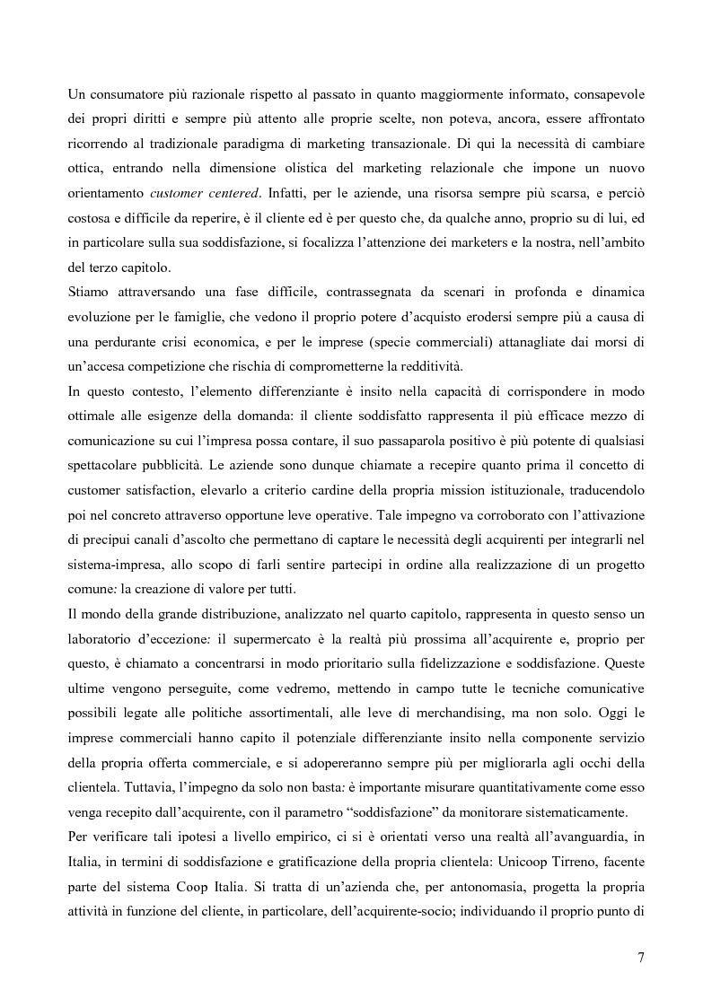 Anteprima della tesi: Il consumatore del servizio commerciale. Fondamenti teorici e prassi d'impresa: il caso Unicoop Tirreno, Pagina 2