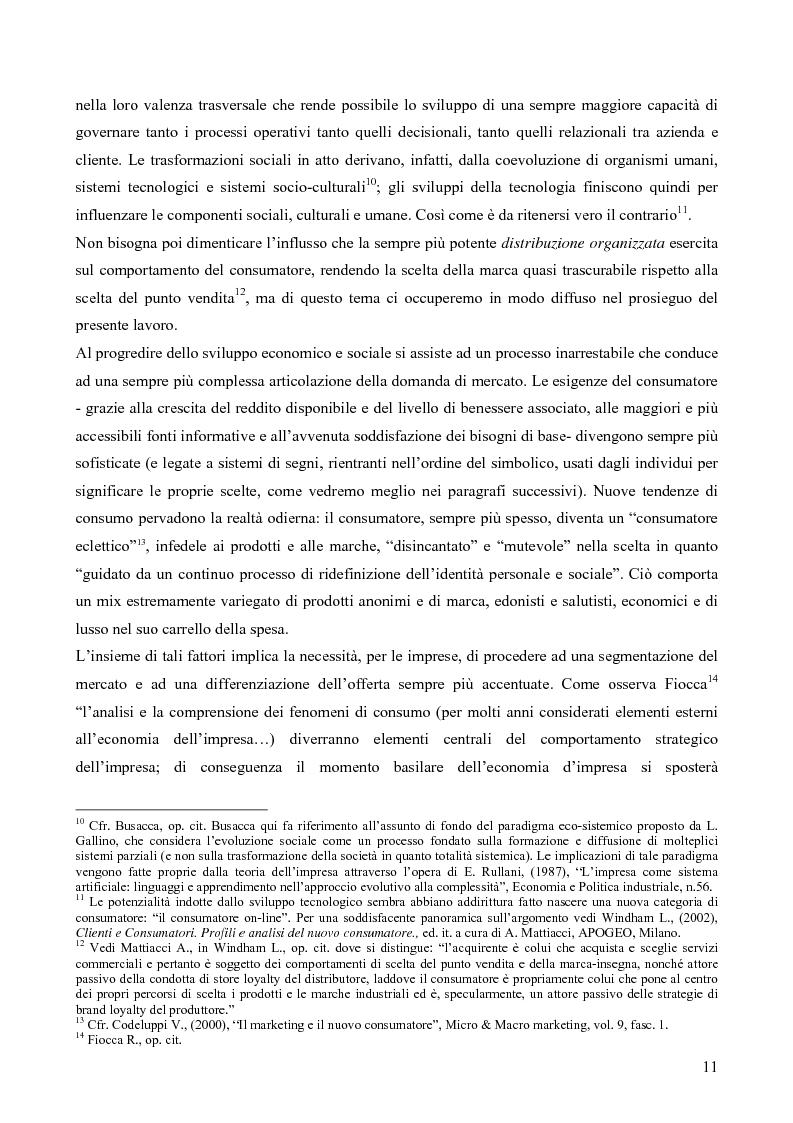 Anteprima della tesi: Il consumatore del servizio commerciale. Fondamenti teorici e prassi d'impresa: il caso Unicoop Tirreno, Pagina 6