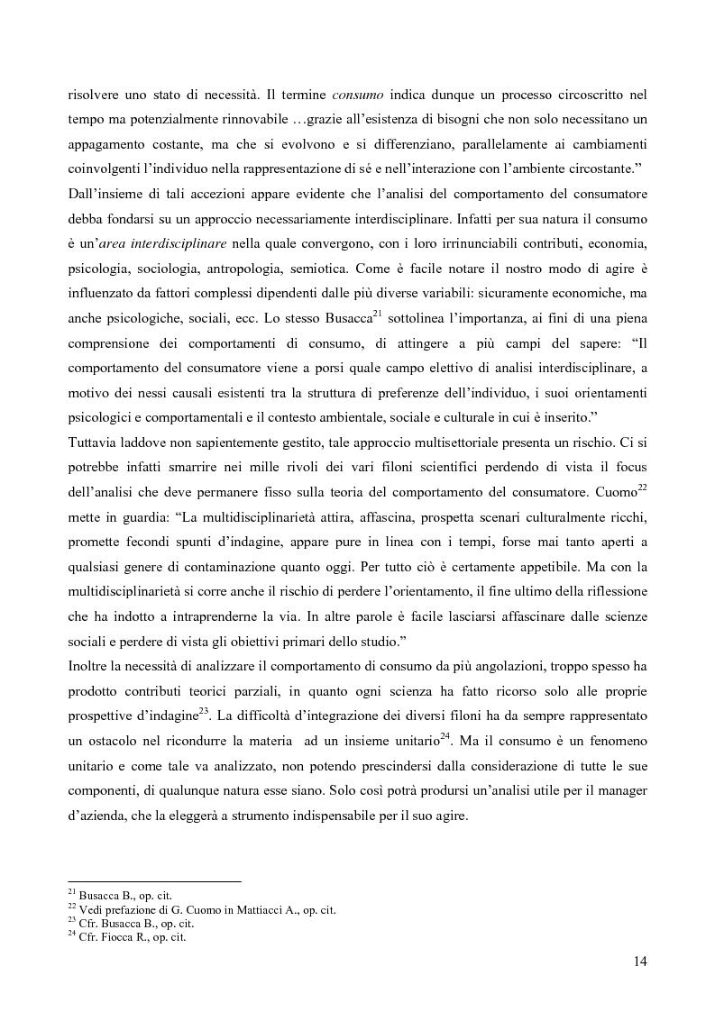 Anteprima della tesi: Il consumatore del servizio commerciale. Fondamenti teorici e prassi d'impresa: il caso Unicoop Tirreno, Pagina 9