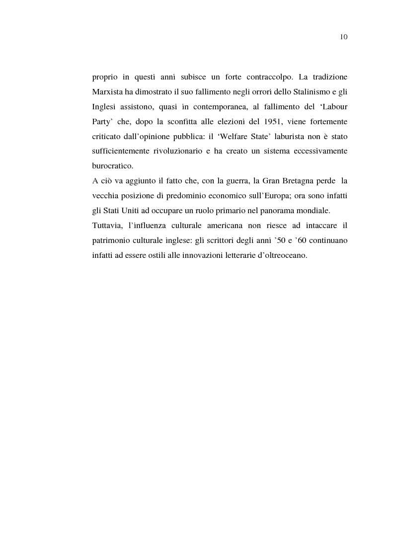Anteprima della tesi: La cultura della 'Working-Class' in due romanzi di Alan Sillitoe, Pagina 10